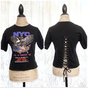 XXI black lace up back USA music concert tee top